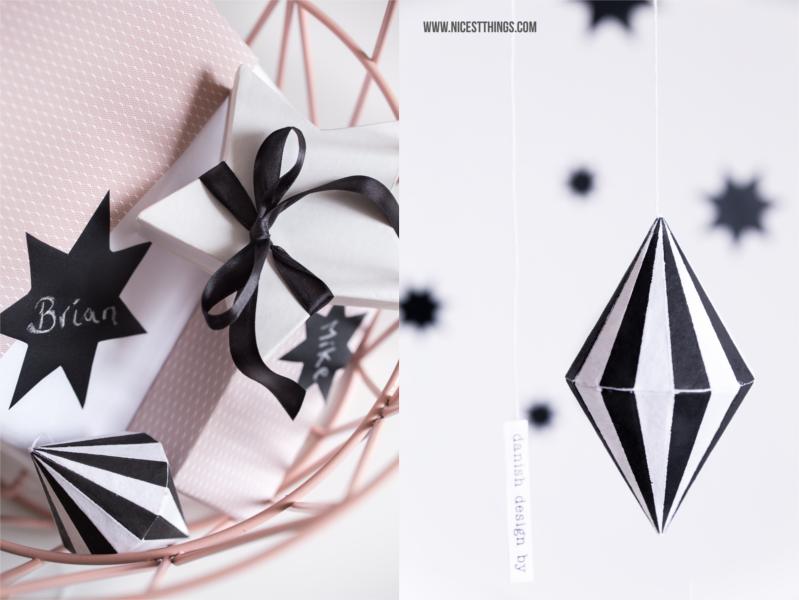 Weihnachtsgeschenke schlicht schwarz weiß rosa in Ferm Living Korb