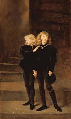 יורש העצר, אדוארד החמישי בן ה-12, ואחיו הצעיר ריצ'רד בן התשע