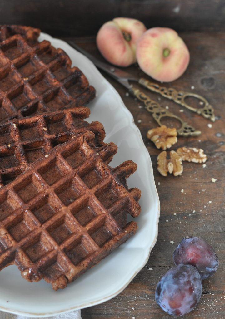 glutenfree Belgian Waffels with nuts and chocolate, the perfect treat for breakfast and long, sunny afternoons