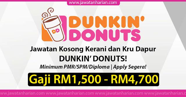 Jawatan Kosong Kerani Dan Kru Dapur Dunkin Donuts