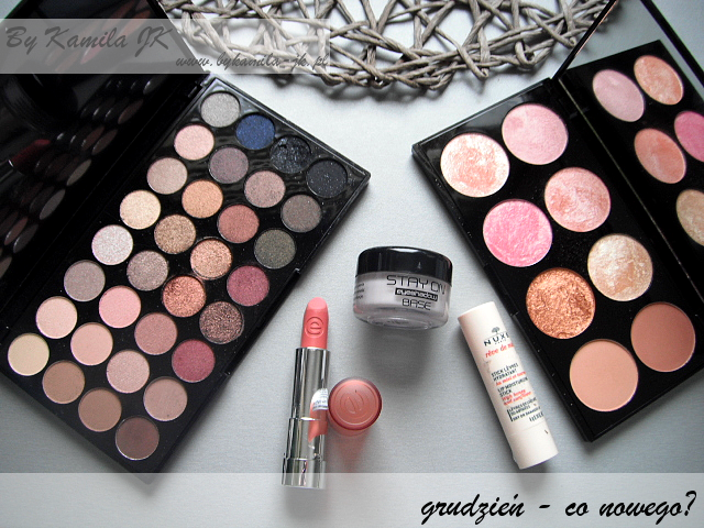 Makeup Revolution Flawless roże Rose Gold szminka matowa Essence pomadka balsam do ust Nuxe baza pod cienie Hean MUR