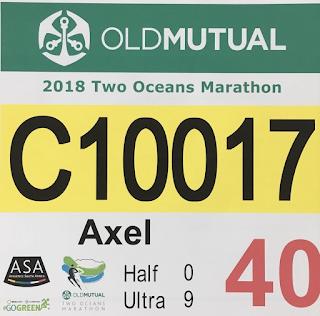 Gelbe Nummer Two Oceans Ultra Marathon 2018