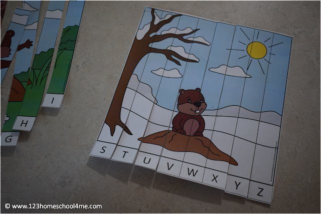 FREE Groundhog Day Alphabet Puzzles