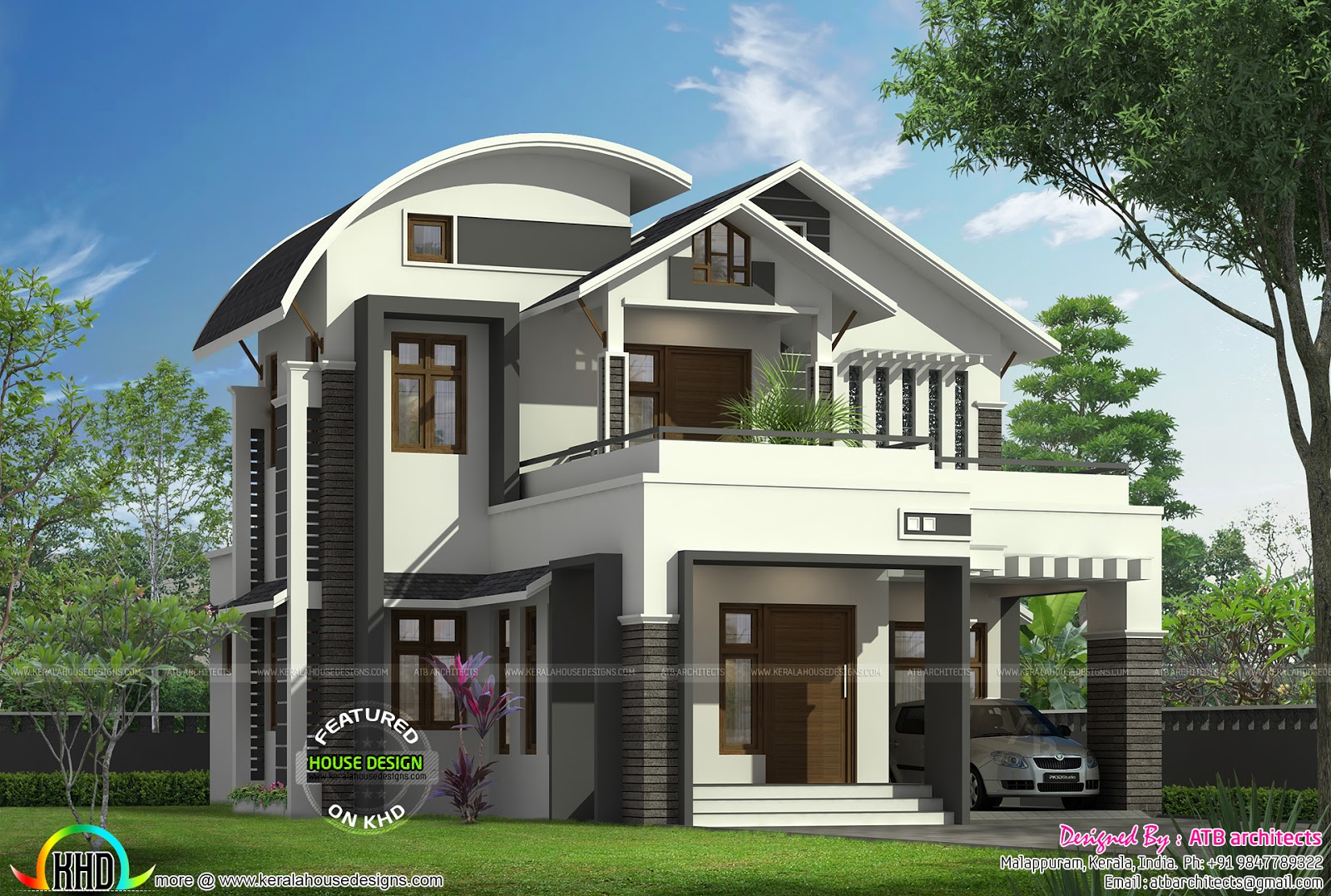 1855 sq ft curved roof mix modern home kerala home for Curved roof house plans