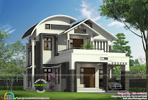 1855 Sq-ft Curved Roof Mix Modern Home - Kerala