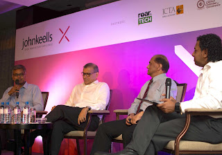 Krishan Balendra (President, Leisure Sector/Director - JKH), Ajit Gunewardene (Deputy Chairman - JKH), Ronnie Peiris (Group Finance Director - JKH), and Ramesh Shanmuganathan (Executive Vice President and Chief Information Officer - JKH) at a panel discussion for the inaugural John Keells X programme last year.