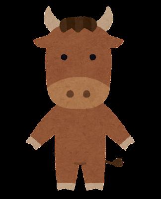 牛のキャラクター(茶色)