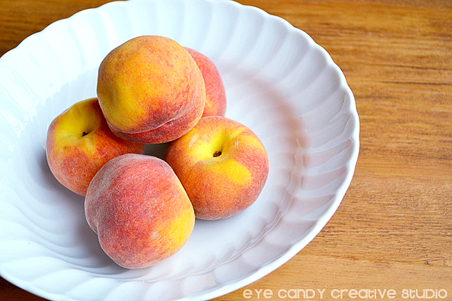 peaches, plate of peaches, fresh peaches, peach pie recipe