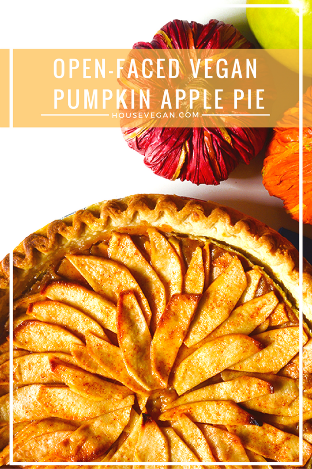 vegan pie, vegan pumpkin pie, vegan apple pie, vegan pumpkin apple pie, vegan apple pumpkin pie, vegan thanksgiving, vegan halloweeen food, vegan thanksgiving food, apple pumpkin pie, pumpkin apple pie, best vegan apple pumpkin pie, best vegan pumpkin apple pie, open faced vegan pie, best vegan thanksgiving pie, best vegan halloween pie, vegan sleepy hallow pie, sleepy hallow pie, food from sleepy hallow movie, disney sleepy hallow food