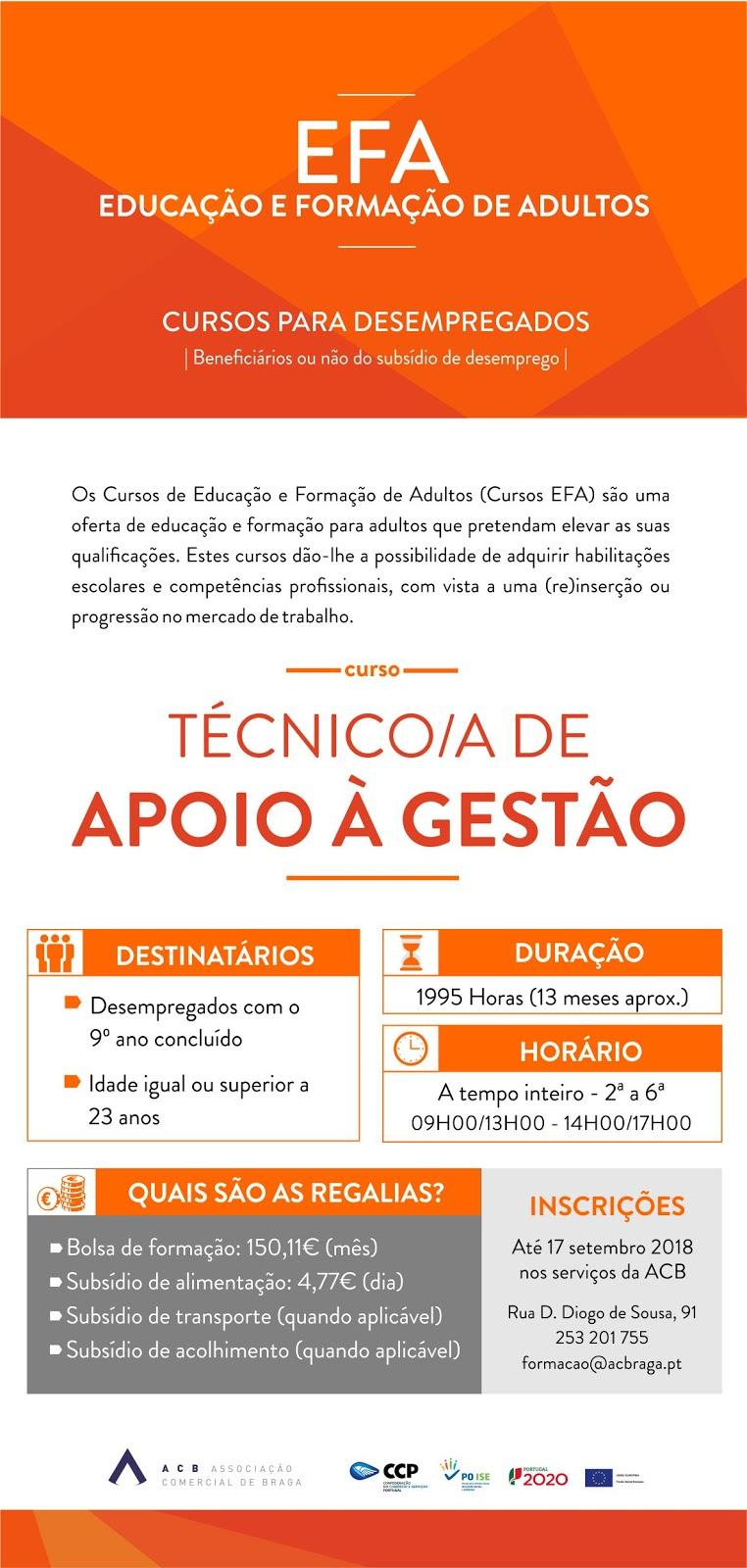 Cursos efa financiados em Braga para 2018