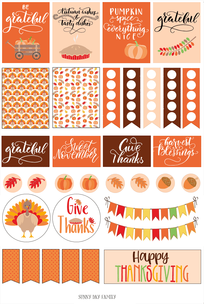 FREE printable Thanksgiving planner stickers for Happy Planner, Erin Condren, and more! Cute planner stickers you can resize to fit any planner. Love these! #thanksgiving #plannerstickers #planner #planners #freeprintables #instantdownload