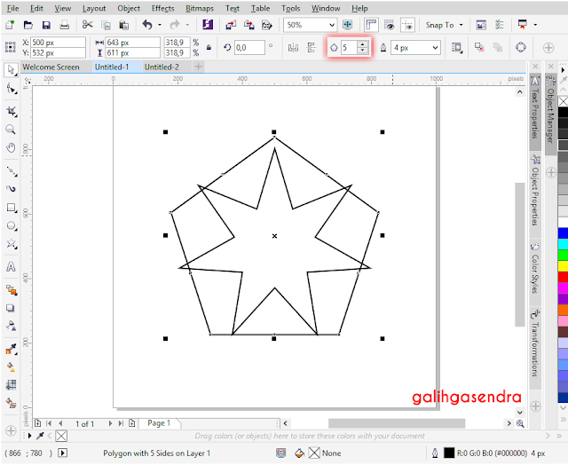 Corel Draw trianlge to center star center circle