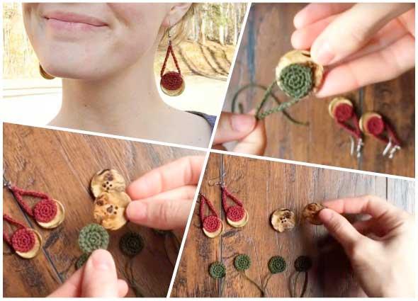 pendientes, botón, button, earrings, labores, tejer, crochet, ganchillo