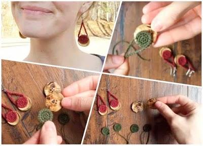 Pendientes de crochet con botones como eje