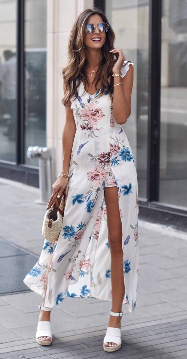what to wear for  romantic date this summer : floral maxi dress + platform sandals + bag