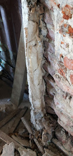 The old plaster mixed with paper