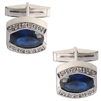 Silver Gemstone Cuff Links - Valentine Gift for Him