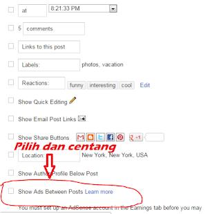 Cara Pasang Iklan AdSense Dalam Postingan Blog 3