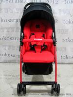 Kereta Bayi LightWeight BABYELLE S606RH CitiLite Red - Hadap Depan atau Belakang