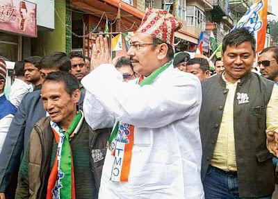 Minister Aroop Biswas campaigns in Mirik