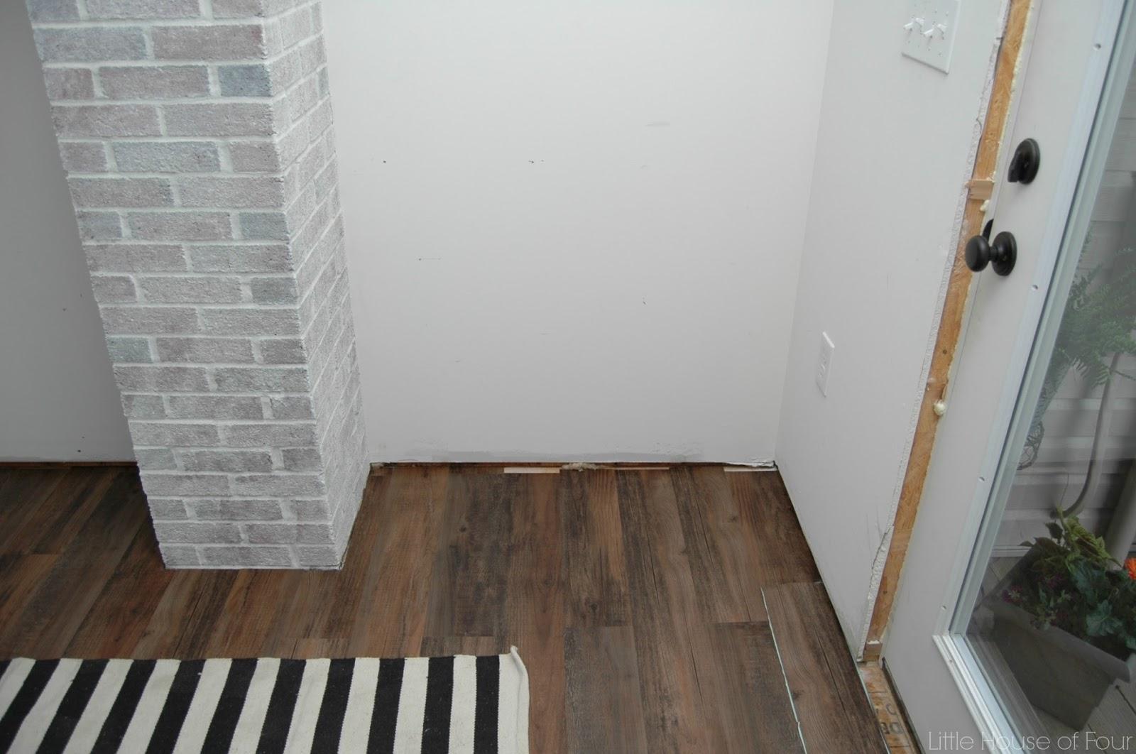 How To Lay Vinyl Flooring >> {Mudroom Progress} Installing Vinyl Plank Flooring | Little House of Four - Creating a beautiful ...