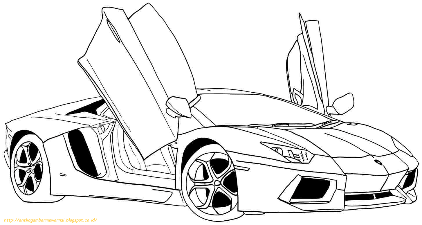 10 Gambar Mewarnai Mobil Lamborghini Untuk Anak PAUD dan TK