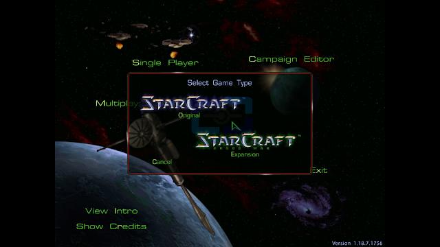Menu principal starcraft