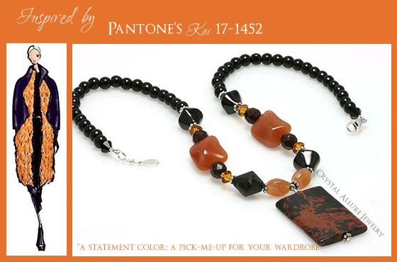 Mahogany Obsidian Carnelian Beaded Gemstone Necklace (N118)