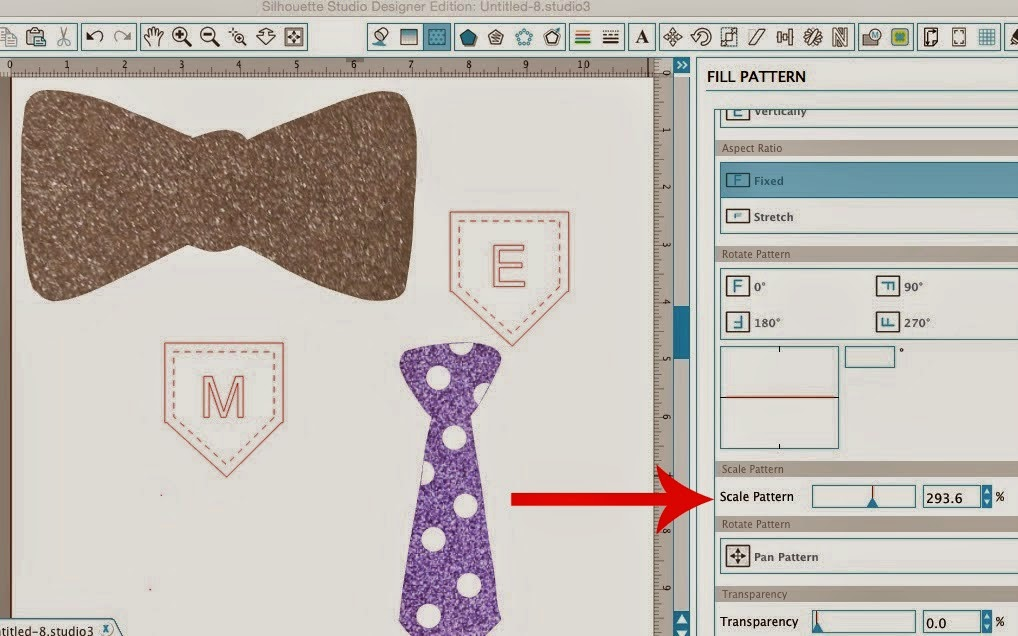 Silhouette Studio, Silhouette tutorial, glitter fill, scale pattern