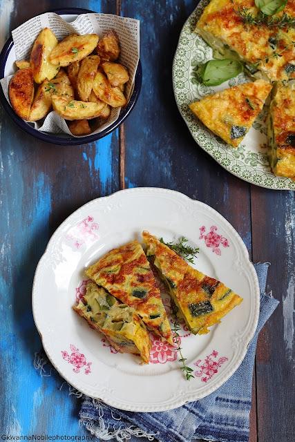 Frittata con zucchine e cipollotti