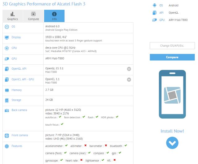 Alcatel Flas 3 muncul di situs patokan GFXBench dengan prosesor deca-core