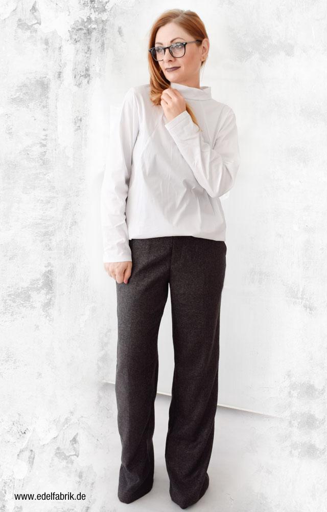 weiße Bluse mit weiter Hose kombiniert, Marlene Hose