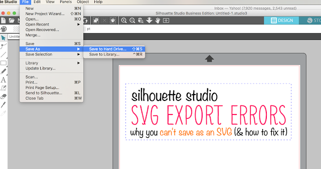 silhouette studio tutorial, silhouette studio svg, save as svg from silhouette studio