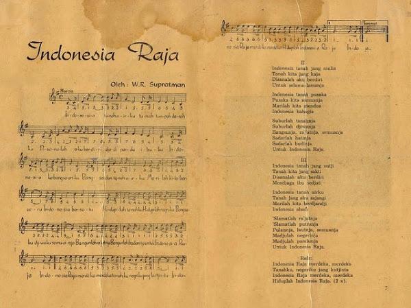 NASKAH ASLI LIRIK LAGU KEBANGSAAN INDONESIA RAYA 3 STANZA (BAIT)