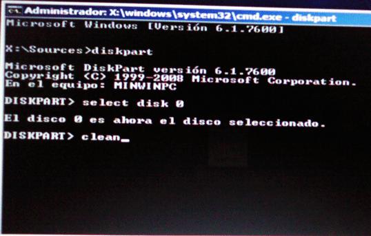 comando clean del diskpart para eliminar instalacion de win8