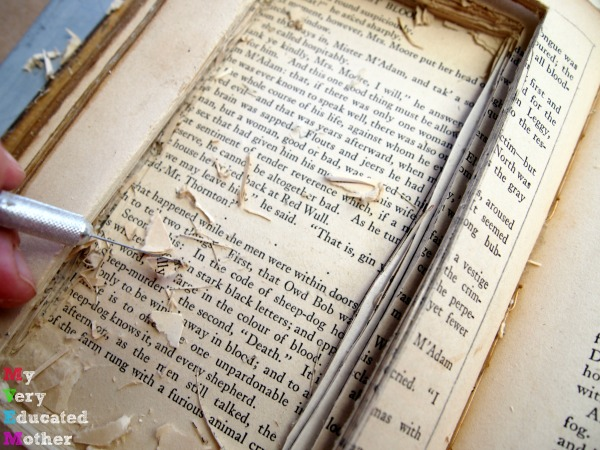 Don't hollow out an older book, it will turn into a mess!