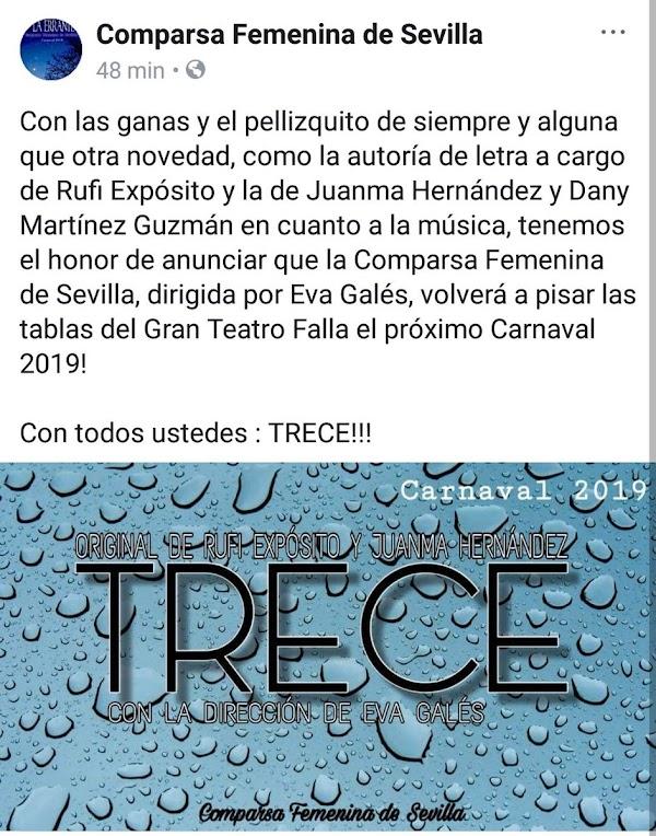La Comparsa Femenina de Sevilla en el COAC 2019 será.....
