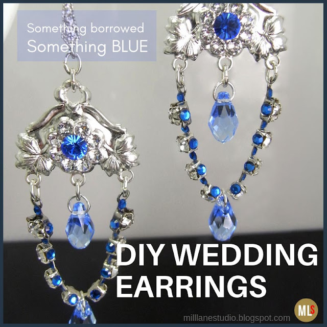 Something borrowed, something blue DIY wedding earrings