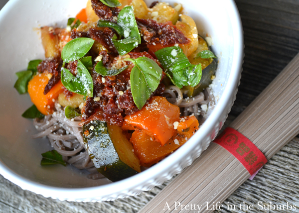 Soba Noodles with Roasted Vegetables & Sun Dried Tomatoes