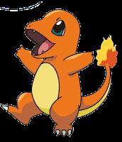 Imagen de Charmander, Pokemon que se asemeja a una lagartija de color naranja, ojos azules y una llama al final de su cola.
