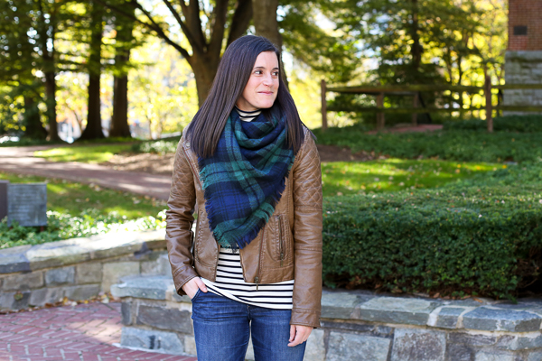 naturally me, fall outfit idea, how to wear plaid and stripes for fall