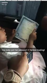 Imade,Davido's daughter gets her American passport