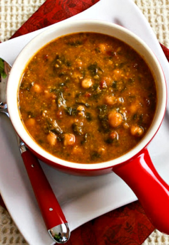 Chickpea Soup with Spinach, Tomatoes, and Basil found on KalynsKitchen.com