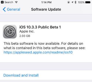 Cara Download iOS 10.3.3 Public Beta