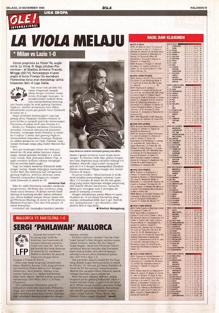 LEGA CALCIO 1998 BATISTUTA LA VIOLA FIORENTINA