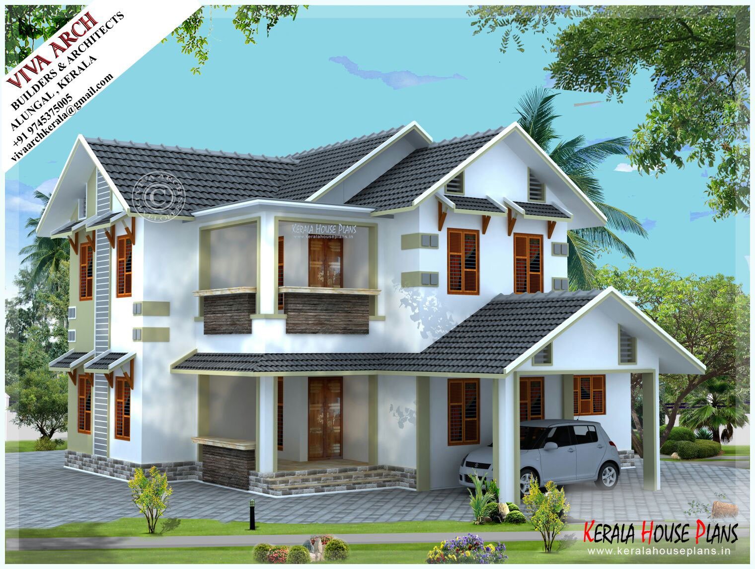 2300 sq.ft white beautiful Kerala style Slope Roof Home ...