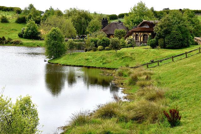 lake, grass, trees, greens, yellow pub
