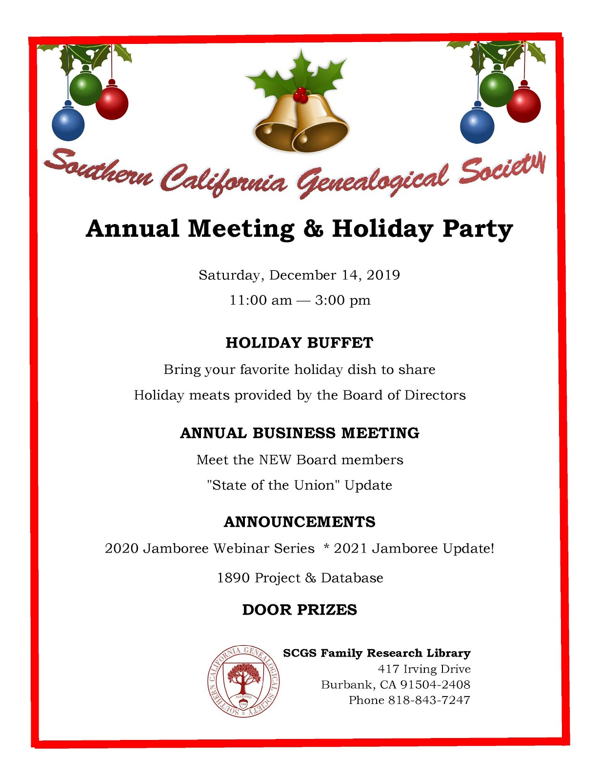 SCGS Annual Meeting & Holiday Party