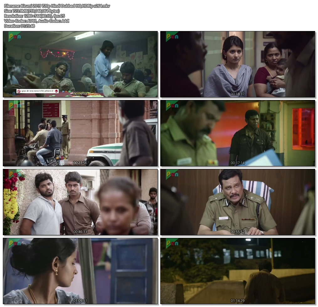 Kirumi 2019 720p Hindi Dubbed HQ HDRip x264 | 480p 300MB | 100MB HEVC Screenshot