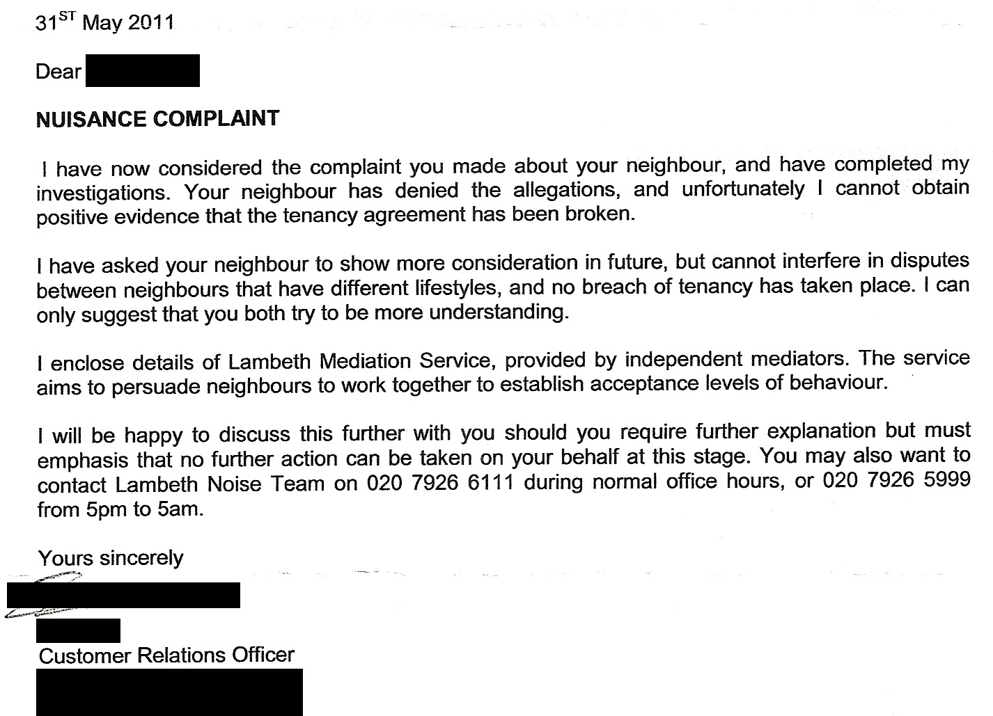 Mediation Template Letter To Noisy Neighbour